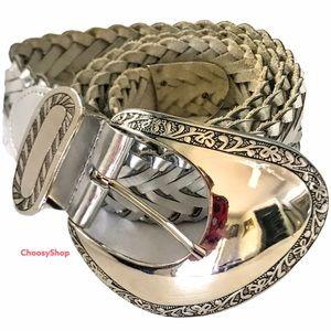 Lady Captiva Engraved Silver Leather Braided Belt